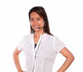Smiling asiatic young woman using headphones