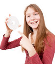Smiling attractive girl holds CD Royalty Free Stock Image