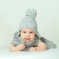 Smiling baby on background portrait Royalty Free Stock Photography