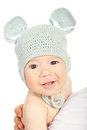 Smiling baby boy in knitted mouse cap isolated on white background Stock Photo