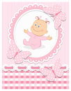 Smiling baby girl pink frame editable vector illustration Royalty Free Stock Images