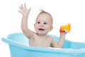 Smiling baby kid taking bath and playing Royalty Free Stock Photography