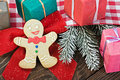 Smiling on the background of christmas gingerbread decorations Royalty Free Stock Images