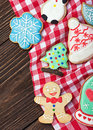 Smiling on the background of christmas gingerbread decorations for holiday Royalty Free Stock Images