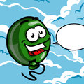 Smiling balloon with speech bubble floating in the air blank Stock Image