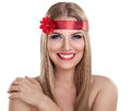 Smiling beautiful girl blond woman with decoration in hair Stock Photos