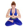 Smiling beautiful girl practicing yoga  in siddhasana Royalty Free Stock Photo