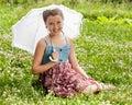 Smiling beautiful girl with umbrella Stock Photos