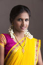 Smiling beautiful indian girl in traditional indian half sari looking at the camera Stock Photos
