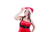 Smiling beautiful in santa claus clothes girl isolated on white background this image has attached release Stock Photo