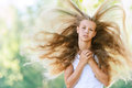Smiling beautiful teenage wind Stock Photo