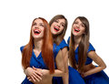 Smiling beautiful Triplets women Royalty Free Stock Photo