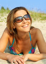 Smiling bikini girl Stock Photography