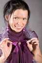 Smiling black hair girl in violet dress Stock Images