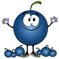 Smiling Blueberry Cartoon Face