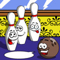 Smiling bowling ball and pin with speech bubble cartoon style illustrated vector format is available Stock Images