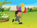 A smiling boy with balloons illustration of in garden Royalty Free Stock Image