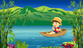 A smiling boy in a boat illustration of and beautiful nature background Stock Photos