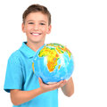 Smiling boy in casual holding globe in hands isolated on white Royalty Free Stock Photo