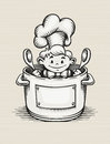 Smiling boy cooking in the kitchen sitting pot with two big spoons his hands eps vector illustration Royalty Free Stock Images