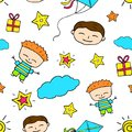Smiling boy doodle seamless pattern. Boy birthday
