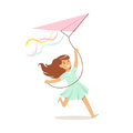 Smiling boy enjoying flying kite, kids outdoor activity colorful character vector Illustration Royalty Free Stock Photo