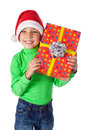 Smiling boy with gift box Stock Image
