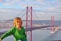 Smiling boy at the Golgen Gate bridge, Lisbon Royalty Free Stock Photo