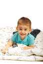 Smiling boy lying on blanket Royalty Free Stock Photos