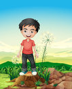 A smiling boy standing above a stump illustration of Royalty Free Stock Image