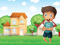 A smiling boy standing in front of the neighborhood illustration Royalty Free Stock Images