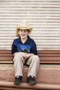 Smiling Boy Wearing a Cowboy hat Royalty Free Stock Images