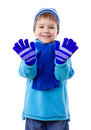 Smiling boy in winter clothes Royalty Free Stock Photo