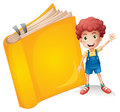 A smiling boy and a yellow book illustration of on white background Stock Image