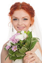 Smiling Bride With Of Flowers