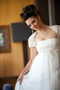 Smiling brunette bride Stock Photo