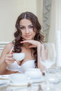 Smiling brunette posing in white brassiere close up Royalty Free Stock Images