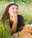 Smiling brunette woman in summer day Royalty Free Stock Photography