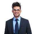 Smiling business man with glasses looking like a nerd Royalty Free Stock Photo