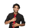 Smiling business man holding tie close up portrait of a young isolated on white background Stock Images