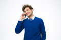 Smiling business man talking on the phone Royalty Free Stock Photo
