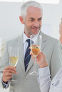 Smiling business partners toasting with champagne at the office Stock Photography
