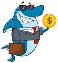 Smiling Business Shark Cartoon Mascot Character