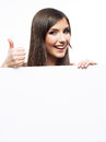 Smiling business woman with big blank board Royalty Free Stock Photo