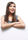 Smiling business woman with big white board Royalty Free Stock Photo