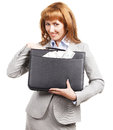 Smiling business woman with black briefcase Royalty Free Stock Photo