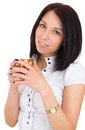 Smiling business woman with cup of coffee Stock Photography