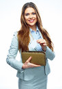 Smiling Business woman hold payment credit card and purse. Whit Royalty Free Stock Photo