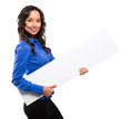 Smiling business woman hold white advertising board white card isolated portrait Royalty Free Stock Photography