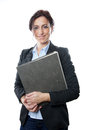 Smiling business woman holding folder Stock Photos